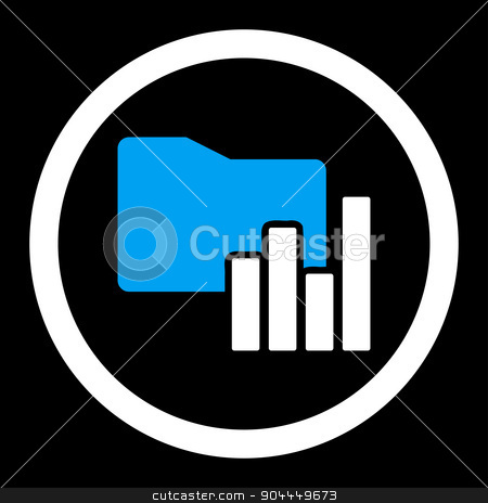 Charts Folder icon stock photo, Charts Folder raster icon. This flat rounded symbol uses blue and white colors and isolated on a black background. by ahasoft