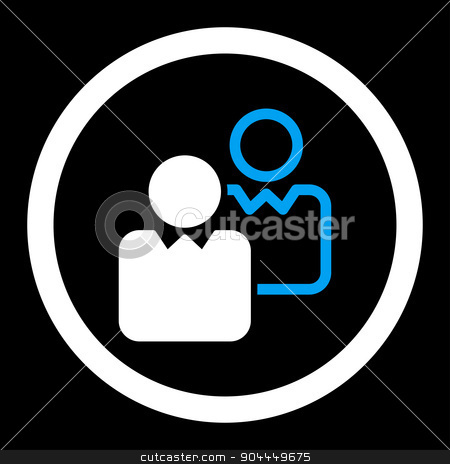 Clients icon stock photo, Clients raster icon. This flat rounded symbol uses blue and white colors and isolated on a black background. by ahasoft