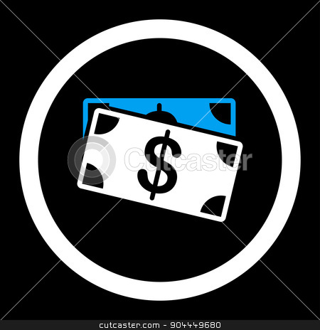 Dollar Banknotes icon stock photo, Dollar Banknotes raster icon. This flat rounded symbol uses blue and white colors and isolated on a black background. by ahasoft