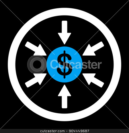 Income icon stock photo, Income raster icon. This flat rounded symbol uses blue and white colors and isolated on a black background. by ahasoft