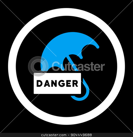 Umbrella icon stock photo, Umbrella raster icon. This flat rounded symbol uses blue and white colors and isolated on a black background. by ahasoft