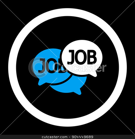 Labor Market icon stock photo, Labor Market raster icon. This flat rounded symbol uses blue and white colors and isolated on a black background. by ahasoft