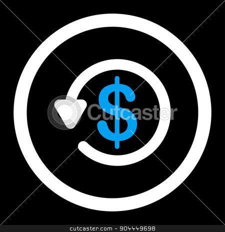 Refund icon stock photo, Refund raster icon. This flat rounded symbol uses blue and white colors and isolated on a black background. by ahasoft