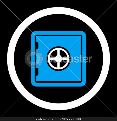 Safe icon stock photo, Safe raster icon. This flat rounded symbol uses blue and white colors and isolated on a black background. by ahasoft