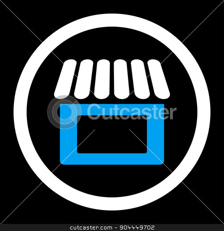 Shop icon stock photo, Shop raster icon. This flat rounded symbol uses blue and white colors and isolated on a black background. by ahasoft