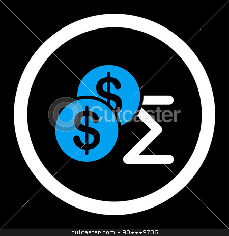 Summary icon stock photo, Summary raster icon. This flat rounded symbol uses blue and white colors and isolated on a black background. by ahasoft