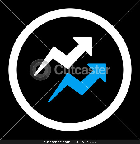 Trends icon stock photo, Trends raster icon. This flat rounded symbol uses blue and white colors and isolated on a black background. by ahasoft