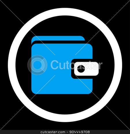 Wallet icon stock photo, Wallet raster icon. This flat rounded symbol uses blue and white colors and isolated on a black background. by ahasoft