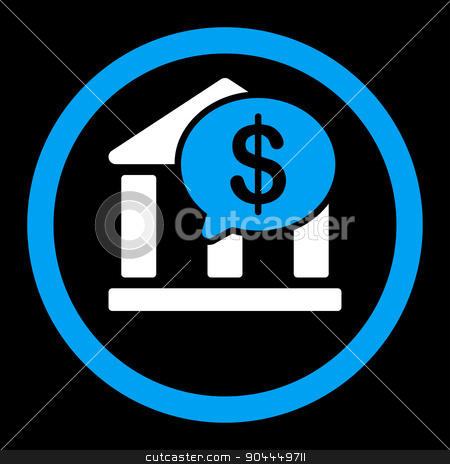Bank Transfer icon stock vector clipart, Bank Transfer vector icon. This flat rounded symbol uses blue and white colors and isolated on a black background. by ahasoft
