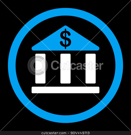 Bank icon stock vector clipart, Bank vector icon. This flat rounded symbol uses blue and white colors and isolated on a black background. by ahasoft