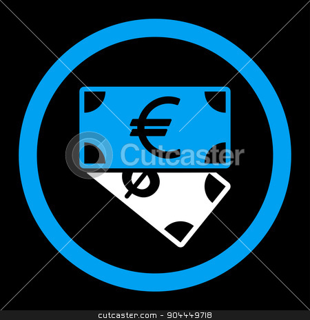 Banknotes icon stock vector clipart, Banknotes vector icon. This flat rounded symbol uses blue and white colors and isolated on a black background. by ahasoft