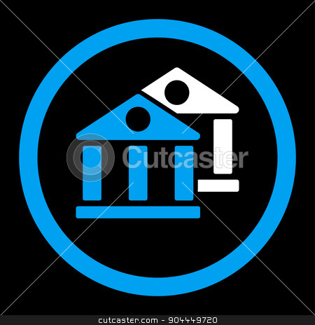 Banks icon stock vector clipart, Banks vector icon. This flat rounded symbol uses blue and white colors and isolated on a black background. by ahasoft