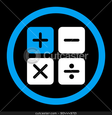 Calculator icon stock vector clipart, Calculator vector icon. This flat rounded symbol uses blue and white colors and isolated on a black background. by ahasoft