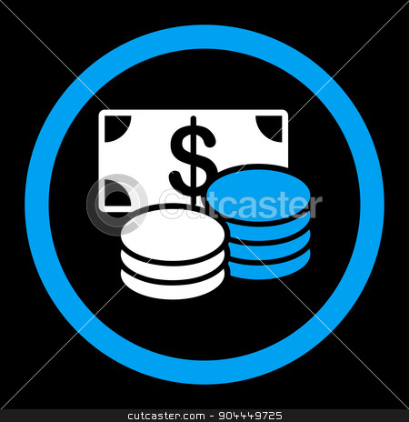 Cash icon stock vector clipart, Cash vector icon. This flat rounded symbol uses blue and white colors and isolated on a black background. by ahasoft