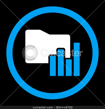 Charts Folder icon stock vector clipart, Charts Folder vector icon. This flat rounded symbol uses blue and white colors and isolated on a black background. by ahasoft