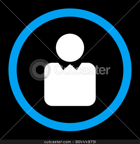 Client icon stock vector clipart, Client vector icon. This flat rounded symbol uses blue and white colors and isolated on a black background. by ahasoft
