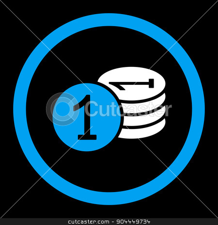 Coins icon stock vector clipart, Coins vector icon. This flat rounded symbol uses blue and white colors and isolated on a black background. by ahasoft