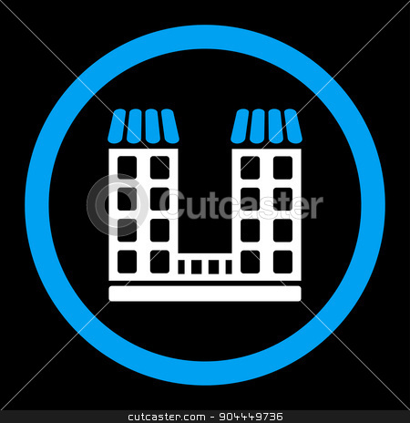 Company icon stock vector clipart, Company vector icon. This flat rounded symbol uses blue and white colors and isolated on a black background. by ahasoft