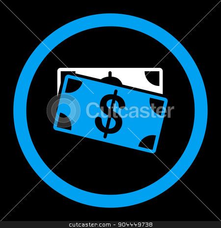 Dollar Banknotes icon stock vector clipart, Dollar Banknotes vector icon. This flat rounded symbol uses blue and white colors and isolated on a black background. by ahasoft