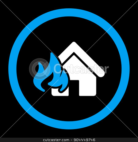 Fire Damage icon stock vector clipart, Fire Damage vector icon. This flat rounded symbol uses blue and white colors and isolated on a black background. by ahasoft