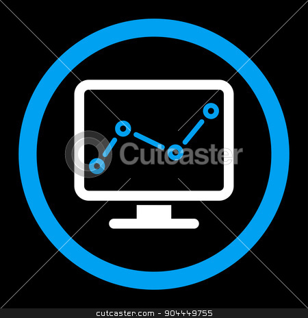 Monitoring icon stock vector clipart, Monitoring vector icon. This flat rounded symbol uses blue and white colors and isolated on a black background. by ahasoft