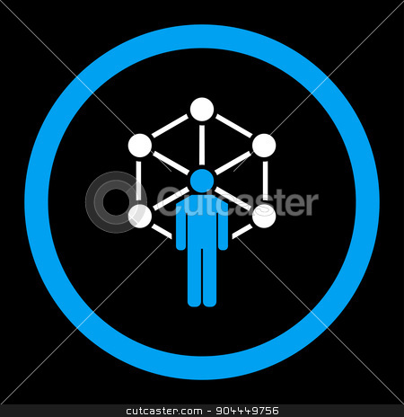 Network icon stock vector clipart, Network vector icon. This flat rounded symbol uses blue and white colors and isolated on a black background. by ahasoft