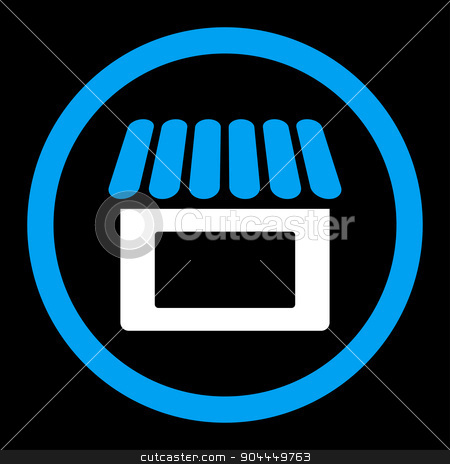 Shop icon stock vector clipart, Shop vector icon. This flat rounded symbol uses blue and white colors and isolated on a black background. by ahasoft