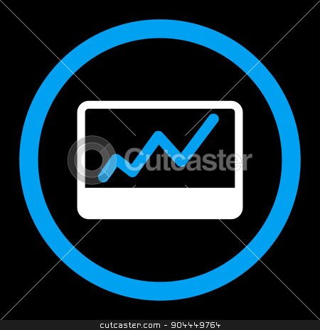Stock Market icon stock vector clipart, Stock Market vector icon. This flat rounded symbol uses blue and white colors and isolated on a black background. by ahasoft