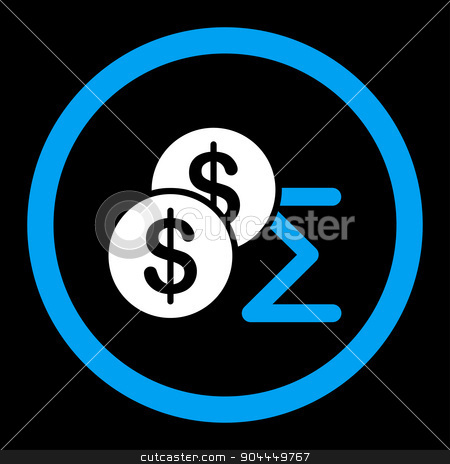 Summary icon stock vector clipart, Summary vector icon. This flat rounded symbol uses blue and white colors and isolated on a black background. by ahasoft