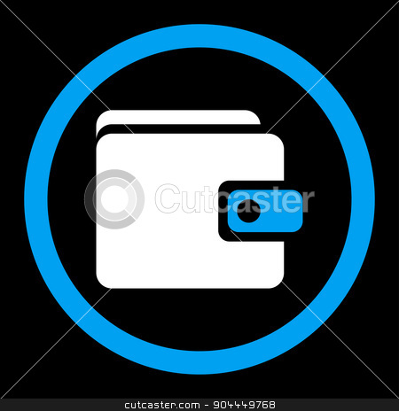 Wallet icon stock vector clipart, Wallet vector icon. This flat rounded symbol uses blue and white colors and isolated on a black background. by ahasoft