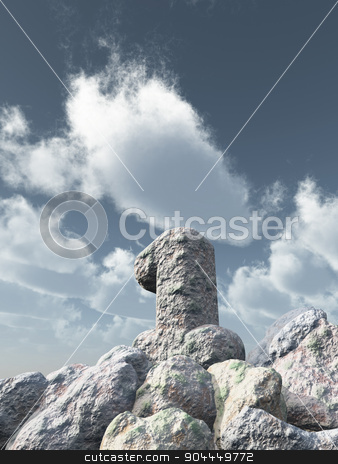 number one rock stock photo, number one rock under cloudy blue sky - 3d illustration by J?