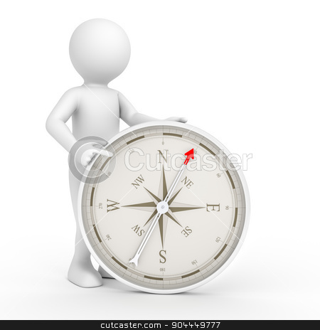man and compass stock photo, An image of a rendered white man pointing to a compass by Markus Gann