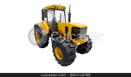 Farm tractor isolated stock photo, Farm tractor isolated on a white background by Alex Varlakov