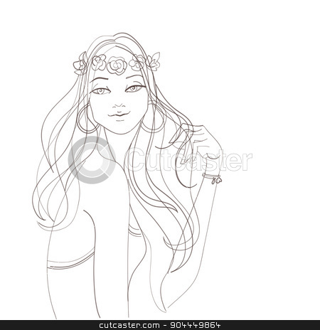 Flower power bohemian hippie chic girl stock vector clipart, fashion illustration design entho chic style girl by Jera