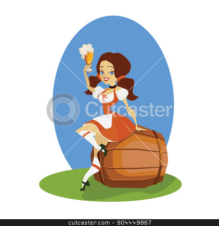 Beer girl in dirndl on keg with pretzel pinup stock vector clipart, smiling cartoon cute pinup beer girl in dirndl  on pin of beer with bocal ant bretzel by Jera