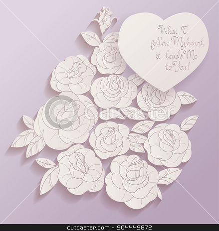 Vintage card roses bouquet romantic quotes stock vector clipart, Elegant Vintage style background design of roses bouquet and romantic quotes. No font were used by Jera