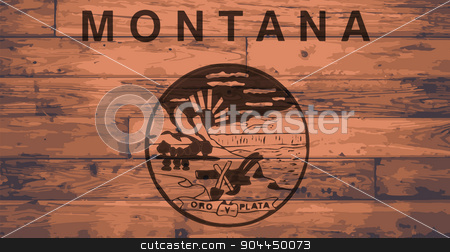 Montana Flag Brand stock vector clipart, Montana State Flag branded onto wooden planks by Kotto