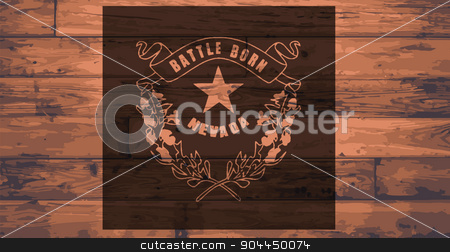 Nevada Flag Brand stock vector clipart, Nevada State Flag branded onto wooden planks by Kotto