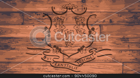 Connecticut Flag Brand stock vector clipart, Connecticut State Flag branded onto wooden planks by Kotto