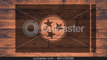 Tennessee Flag Brand stock vector clipart, Tennessee State Flag branded onto wooden planks by Kotto