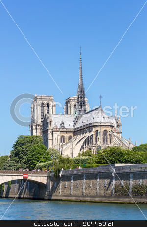 Cathedral Notre Dame Paris stock photo, Cathedral Notre Dame Reims Champagne, River Seine, Paris, France by Vichaya Kiatying-Angsulee