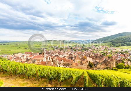 Riquewihr Alsace France stock photo, Riquewihr in the heart of the Alsatian vineyard Alsace France by Vichaya Kiatying-Angsulee