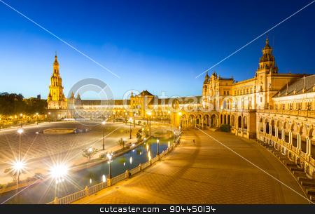espana Plaza in Sevilla Spain at dusk stock photo, Spanish Square espana Plaza in Sevilla Spain at dusk by Vichaya Kiatying-Angsulee