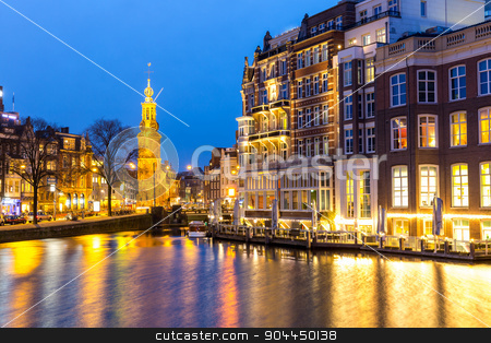 Amsterdam Netherlands stock photo, Munttoren Tower at Muntplein square Amsterdam Netherlands at dusk by Vichaya Kiatying-Angsulee