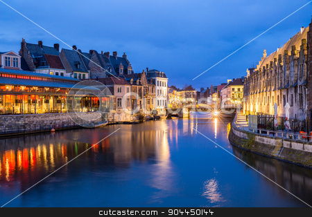Ghent Old town Belgium stock photo, Picturesque medieval buildings on Leie river in Ghent town, Belgium at dusk. by Vichaya Kiatying-Angsulee