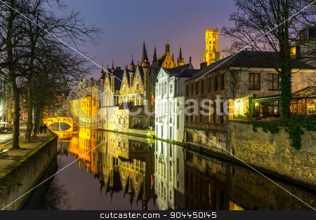 Bruges, Belgium at dusk stock photo, Historic medieval buildings along a canal in Bruges, Belgium at dusk. by Vichaya Kiatying-Angsulee