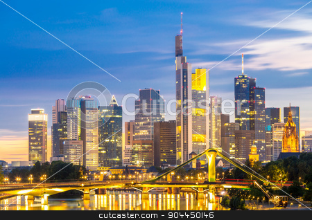 Frankfurt Skylines at disk stock photo, Frankfurt am Mine Skyscraper skyline building at dusk Germany by Vichaya Kiatying-Angsulee