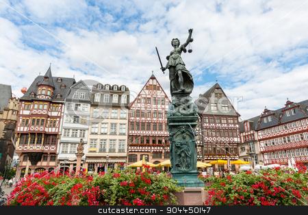 Town square romerberg Frankfurt Germany stock photo, old town square romerberg with Justitia statue in Frankfurt Germany by Vichaya Kiatying-Angsulee