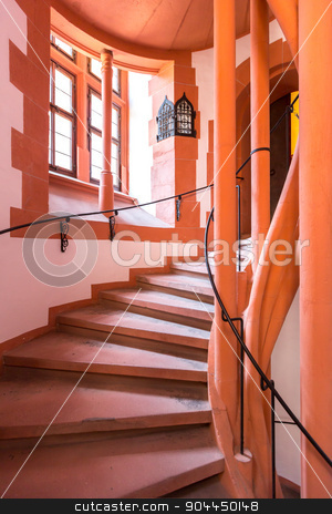 ancient spiral staircase stock photo, ancient spiral staircase in church by Vichaya Kiatying-Angsulee