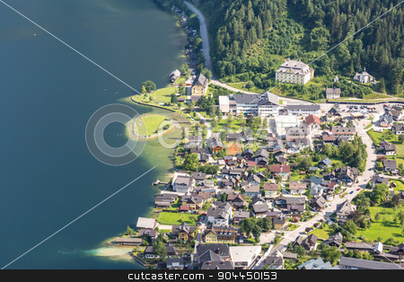 Aerial Hallstatt Austria stock photo, Aerial view of Hallstatt village in Alps, Austria by Vichaya Kiatying-Angsulee